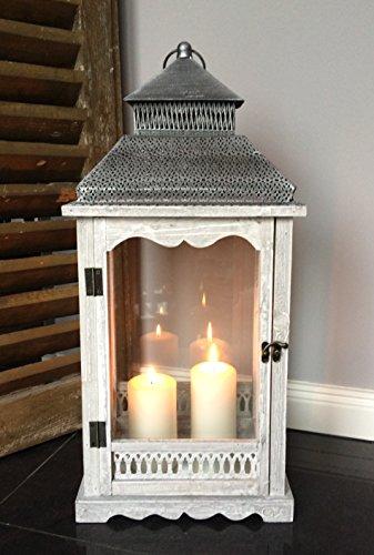 Dekodreams-Wolf XL Holz Laterne Windlicht Metalldach weiß/grau gewischt - 60 cm - Landhaus Shabby Chic