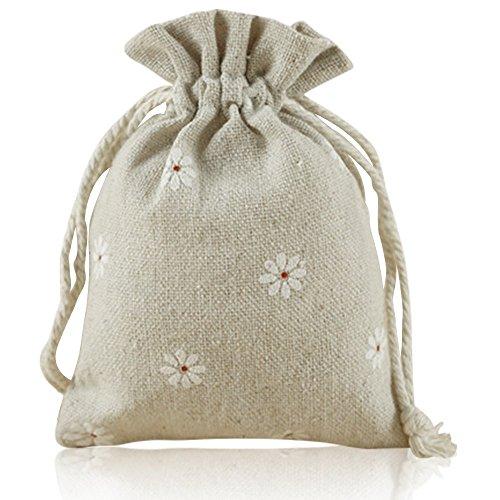 G2PLUS Natur Jutesäckchen 20 Stück Sackleinen Taschen Baumwollbeutel 9 cm *12 cm Leinen-Säckchen Lavendelblüte, Schmuck