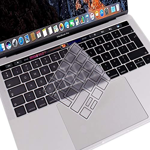 MOSISO Premium Ultra Thin TPU Keyboard Cover Compatible with MacBook Pro with Touch Bar 13/15 Inch 2019/2018/2017/2016 Release, A2159/A1989/A1706, A1990/A1707 Transparent Skin - EU Layout, Black