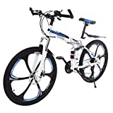 GHGH Mountain Bike 26-inch Wheel 21 Speed 6 Spoke MTB Bikes Double Disc Brake Bicycle Suspension Fork Rear Anti-Slip Bike for Adult or Teens