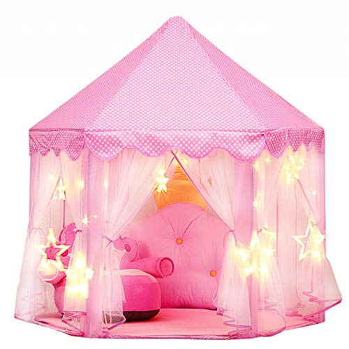 joylink Play Tent, Estela Pink Hexagon Princess Castle House Palace Tents Kids Castle Playhouse with Star Lights for Indoor and Outdoor, Great Gift for Girls, 53'' x 55'' (DxH) (Type 1)