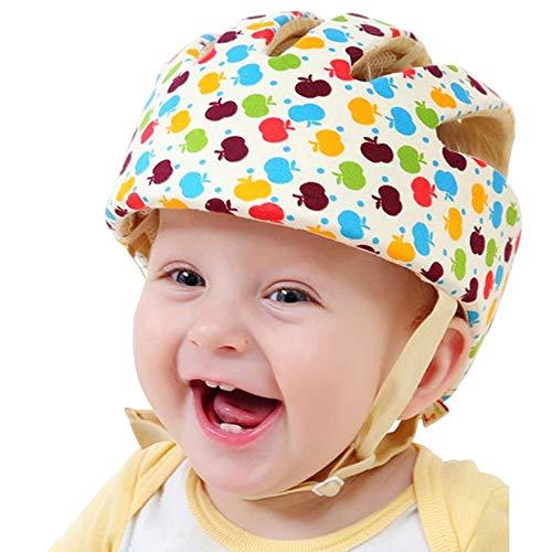 IULONEE Casco de protección para bebé, gorra protectora para cabeza de bebé, gorra de algodón ajustable(Apple Flower)