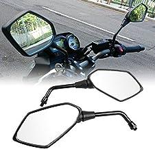 Anzene Par de espejos retrovisores de la motocicleta negra con perno de montaje roscado a la derecha de 10 mm