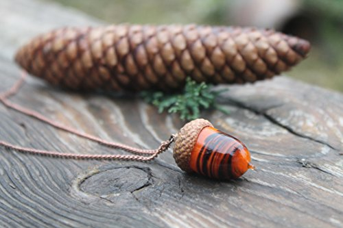 Peter Pan Glass Acorn Necklace, acorn ornament, made from flamework glass and an acorn cap