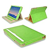 MOFRED® Green & Tan Apple iPad Air 2 (Launched Oct. 2014) Leather Case-MOFRED®- Executive Multi Function Leather Standby Case for Apple New iPad Air 2
