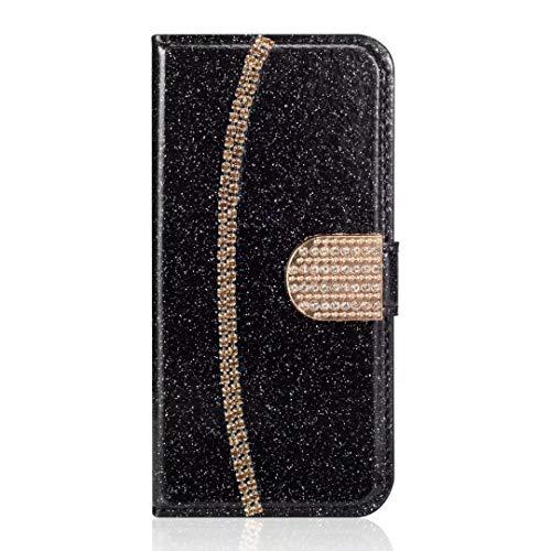 Huawei P30 Lite telefoonhoesje, 3D handgemaakte Glitter edelstenen ketting Bling portemonnee Flip Girly vrouwen hoesje schokbestendig PU lederen standaard magnetische Folio siliconen bumper Gel beschermende telefoonhoesje
