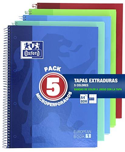 Oxford Classic - Pack de 5 Cuadernos Microperforados, Tamaño Único, Multicolor