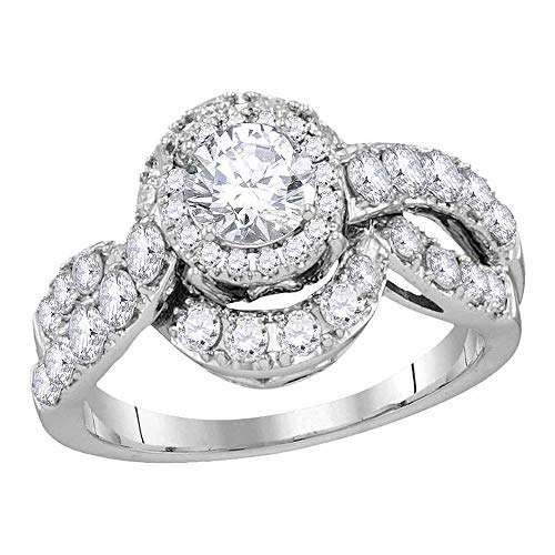 Da donna in oro bianco 14K diamante rotondo da sposa fidanzamento anello anniversario 2.00Cttw
