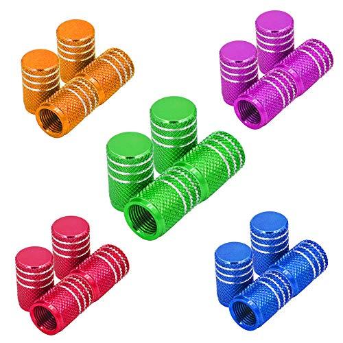 Senven Tapones de válvula de aleación de aluminio. Válvula de neumático para evitar fugas de aire para coche, moto, camión, bicicleta - 20Pcs, 5 colores.
