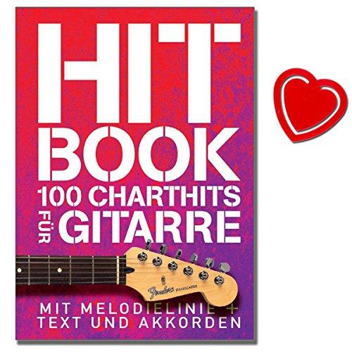 Hit Book - 100 Charthits für Gitarre - aktuelle Top-Titel und etwas ältere Hits - [ Noten/Sheetmusic/Songbook] - mit herzförmiger Notenklammer