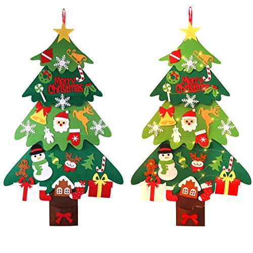 ZOYLINK LED Albero di Natale in Feltro, Decorazione per Albero di Natale Ornamenti di Natale con 30PCS Accessori per Decorazioni Natalizie e Luci da 5m