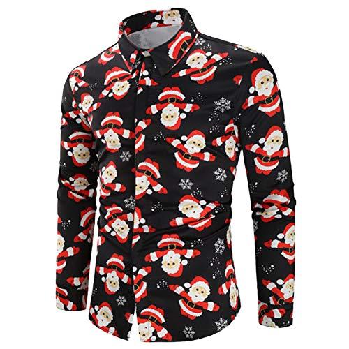 litty089 herfst winter voor mannen ornament, stijlvolle kerstman elk sneeuwman print patroon revers lange mouw shirt blouse, decor voor kerst partij kostuum