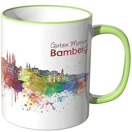 WANDKINGS® Tasse, Schriftzug Guten Morgen Bamberg! mit Skyline - HELLGRÜN