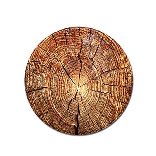 Alfombra Interior Y Exterior, Terraza Y Balcón, Alfombra Circular de Grano de árbol de Grano de Madera Adecuada para Cocina y Sala de Estar