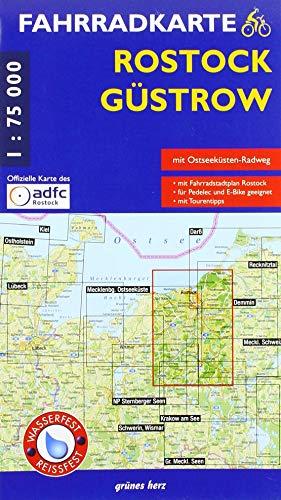 Fahrradkarte Rostock, Güstrow: Mit Fahrrad-Stadtplan Rostock (Maßstab 1:20.000). Mit Ostseeküsten-Radweg. Offizielle Karte des ADFC-Regionalverbandes ... Wasser- und reißfest. (Fahrradkarten)