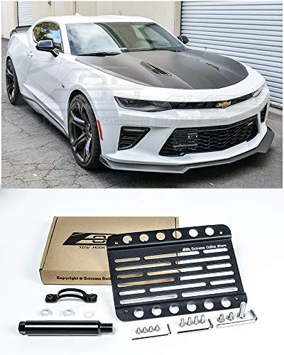 Extreme Online Store Replacement for 2016-Present Chevrolet Camaro RS SS ZL1 | EOS Plate Version 1 Front Bumper Tow Hook License Plate Relocator Mount Bracket Tow-409 (Mid Size)