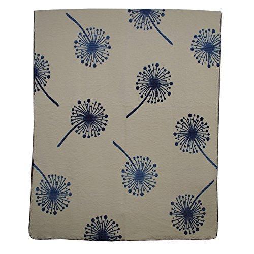 Richter Textilien Decke Pusteblume 150 x 200 cm Bio-Baumwolle Indigo