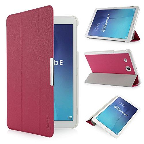 iHarbort Samsung Galaxy Tab E 9.6 Custodia in Pelle, Ultra Sottile di Peso Leggero Case Cover Custodia in Pelle per Samsung Galaxy Tab E 9.6 Pollice T560 T565 Holder (Galaxy Tab E 9.6, Rosa Caldo)