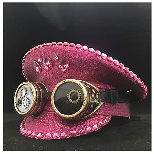 SSLA 2021 Moda Steampunk Polonia Rosa Sombrero con Clases de Engranajes para Mujeres Rendimiento Gorro Militar Hat Capitán (Color : Pink, Size : 61)