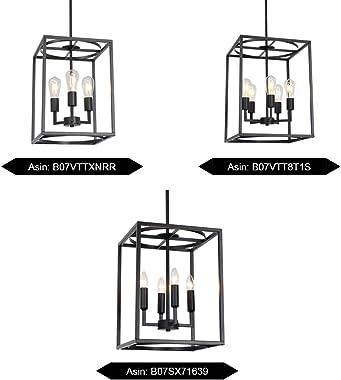 BONLICHT 5 Light Large Farmhouse Chandelier Rustic Dining Room Lighting Fixtures Hanging,Black Foyer Square Cage Pendant Ligh