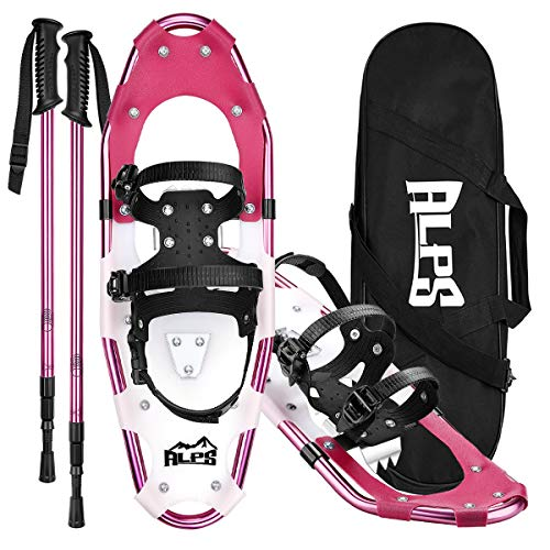 ALPS 21 Inches Light Weight Snow Shoes Set for Women, Girls, Aluminum Snowshoes for Hiking and Outdoor Activities