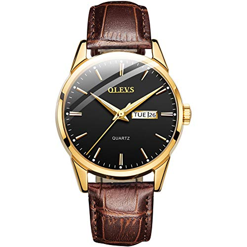 Business Leather Men Watches-OLEVS Analog Quartz Male Dress Week Date Classic Luminous Black Dial Brown Leather Strap 3ATM Waterproof Wrist Watch Lovers