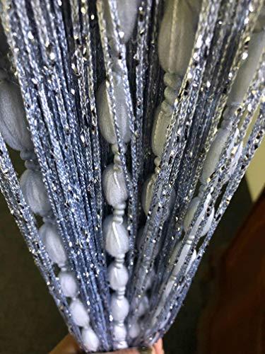 HYSENM Türvorhang Faden Flauschvorhang 100 x 200cm zuschneidbar Kinderzimmer Wohnzimmer, Silber 100 x 200cm