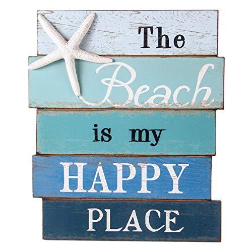 NIKKY HOME Muro de Madera Decorativos Signo 7.87 x 0.63 x 11.87 Pulgadas - The Beach Is My Happy Place