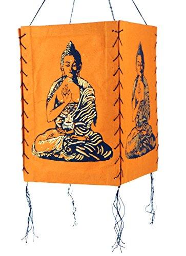 Guru-Shop Lokta Papier Hänge-Lampenschirm, Deckenleuchte aus Handgeschöpftem Papier - Buddha, Orange, Farbe: Orange, 28x18x18 cm, Asiatische Deckenlampen aus Papier & Stoff