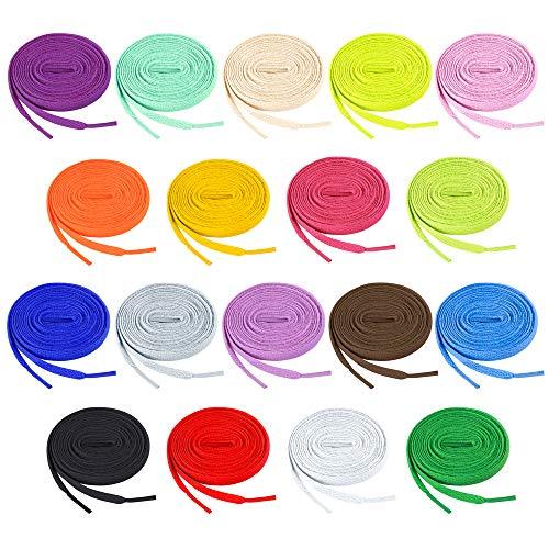 Auihiay - 18 pares de cordones planos de 47 pulgadas, color para zapatillas de deporte, zapatos deportivos, 18 colores
