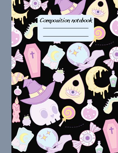 Pastel Goth Composition Notebook: Wide Ruled Notebook   kawaii Gothic Halloween Lined Journal for Teens girls kids Students   Cute Back to School book supplies Gift ideas.