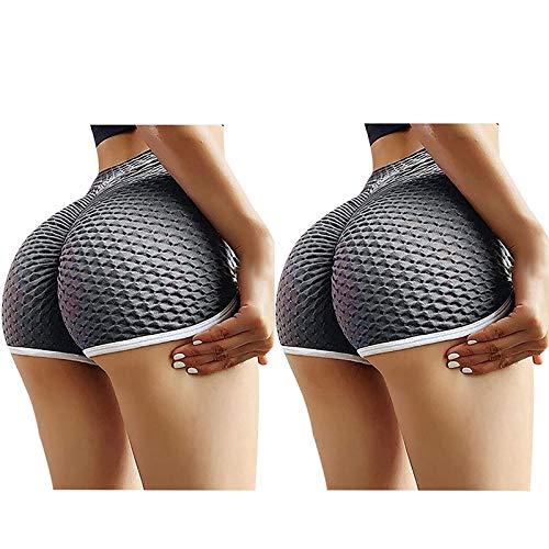 2021 Nuevo 2pc Mujer Pantalones corto, Elásticos mallas Moda Leggings Yoga Pantalones Cadera de melocotón Cintura alta Color sólido patchwork Gym Fitness Slim Fit Pants Deportivos Aptitud shorts
