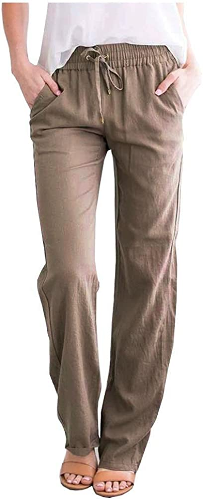 SCOFEEL Women's Cotton Linen Pants Recommended Side Elastic Waist Drawstring Los Angeles Mall