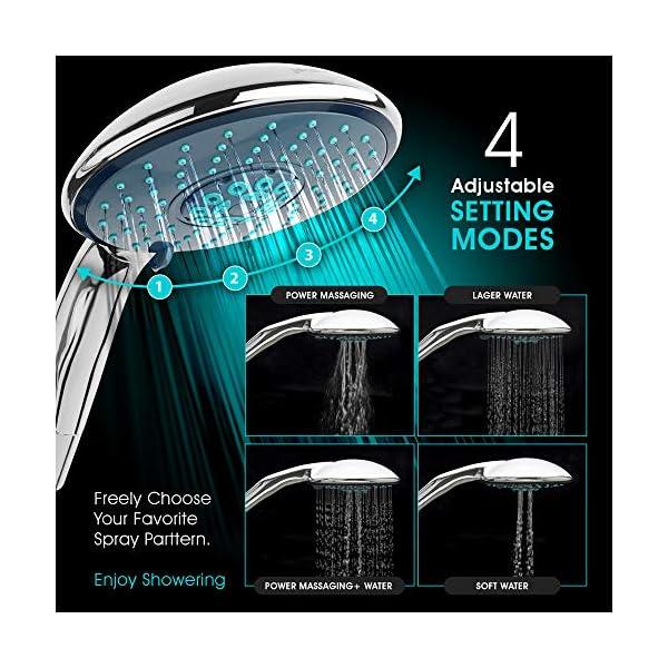 jocalvi – Set de ducha con manguera – XXL Wellness – 4 tipos de chorro, ducha de mano de 150 mm de diámetro con manguera…