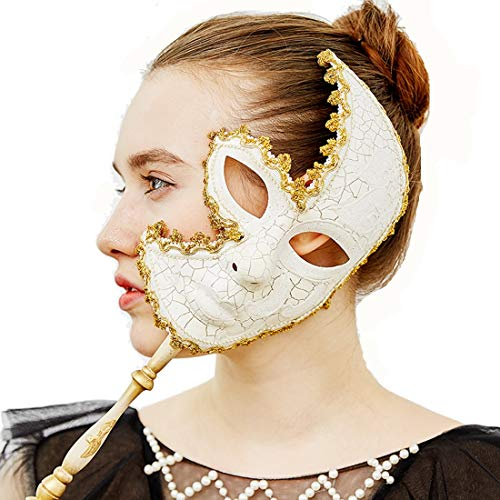 YUFENG Venetian Mask On a Stick Mardi Gras Mask for Women Masquerade Party Prom Ball (White) Halloween/Chrismas Cosplay