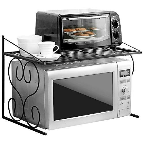 WY-YAN Cocina de microondas estante horno de carro soporte del gabinete de cocina y contador estante organizador, multifuncional Arrocera condimento soporte for botella de soporte, Metal Negro, 55x37.