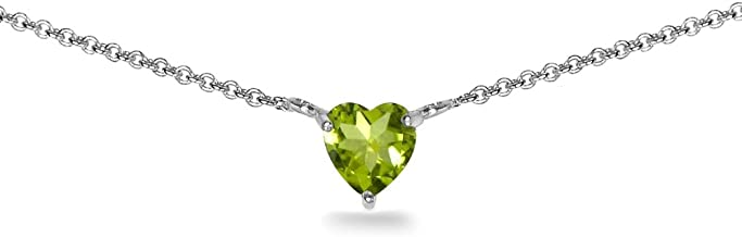 Sterling Silver Genuine, Simulated or Created Gemstone 7x7mm Heart Shaped Dainty Choker Necklace