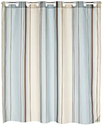 large blue and white vertical stripes shower curtain