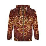 INTERESTPRINT Custom Chinese Gold Dragons Red Pattern Men's Full-Zip Zipper Hoodies Sweatshirt L