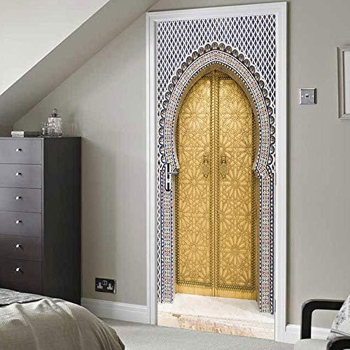 KAMAUAY Türaufkleber PVC-Aufkleber 3D Selbstklebender Wandaufkleber Wohnzimmer Moderne Dekoration Goldene Tür Wandbild-90X200Cm