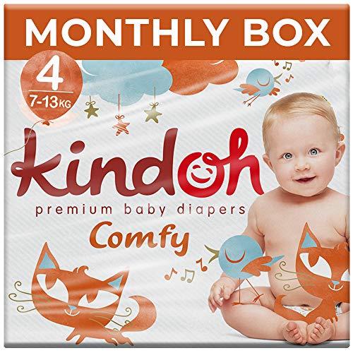 Kindoh Comfy Windeln Maxi Protection - Monatsbox - 132 Stück (Größe 4) - Ultra Schutz für Ihr Baby