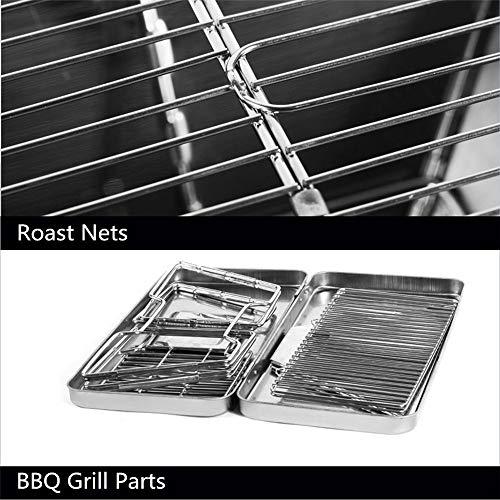51MlLxjfgqL. SL500  - YWZQ Outdoor-Holzkohle BBQ Grill, Schärfen Edelstahl Folding BBQ-Grill-Zubehör Mobile Home Küche Camping Kochen Werkzeuge