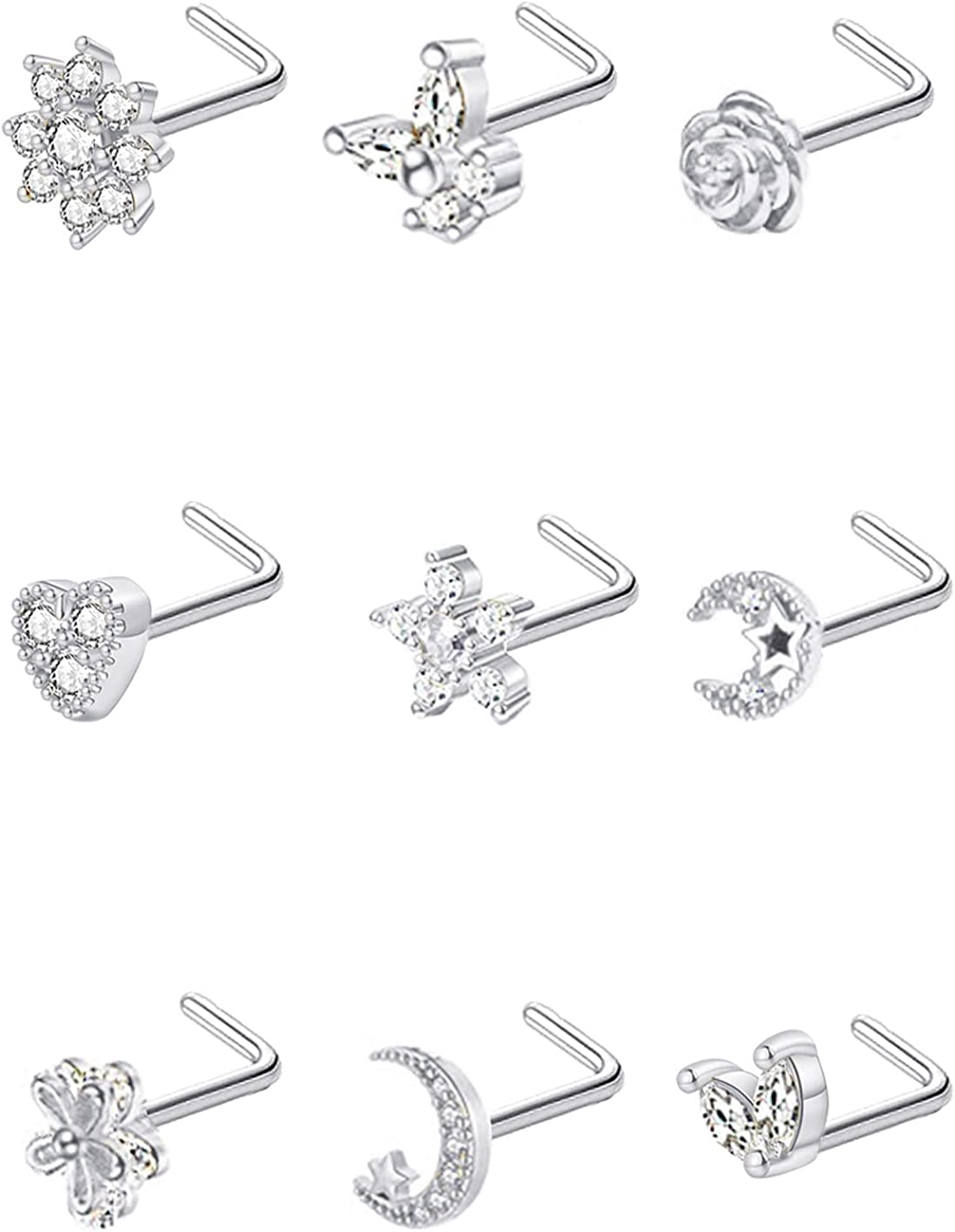Masedy 9Pcs 20G Stainless Steel Nose Rings Shaped F Studs Clearance SALE! Limited time! Ranking TOP13 L