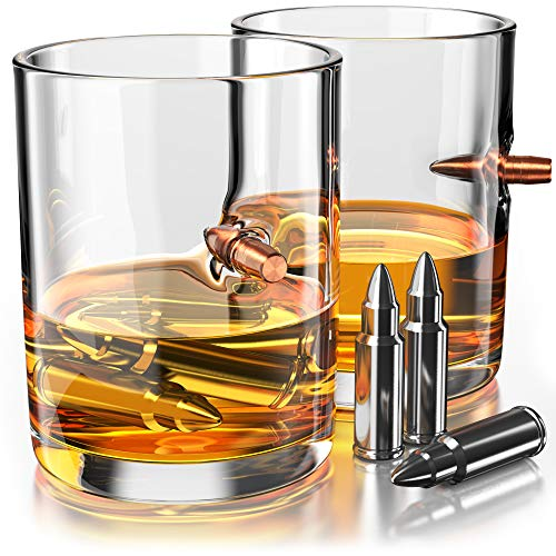 .308 Real Solid Copper Projectile Hand Blown Old Fashioned Whiskey Rocks Glass - Whiskey Stones Gift Set - Set of 2