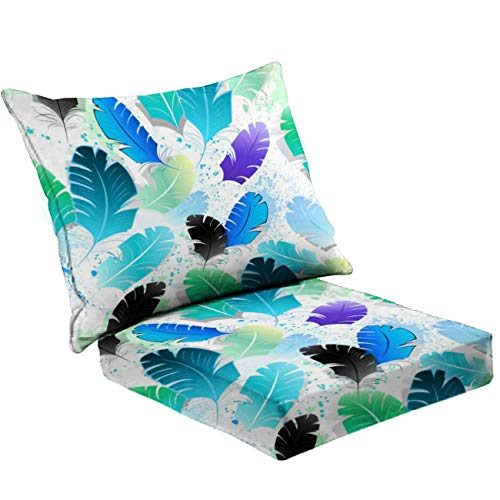 MVEMOEMCA Seamless Pattern with Blue Feathers Stock Illustration Deep Seat Cushion Set Plush Surface Backrest and Seat Cushion Outdoor Indoor Furniture Replacement Cushions