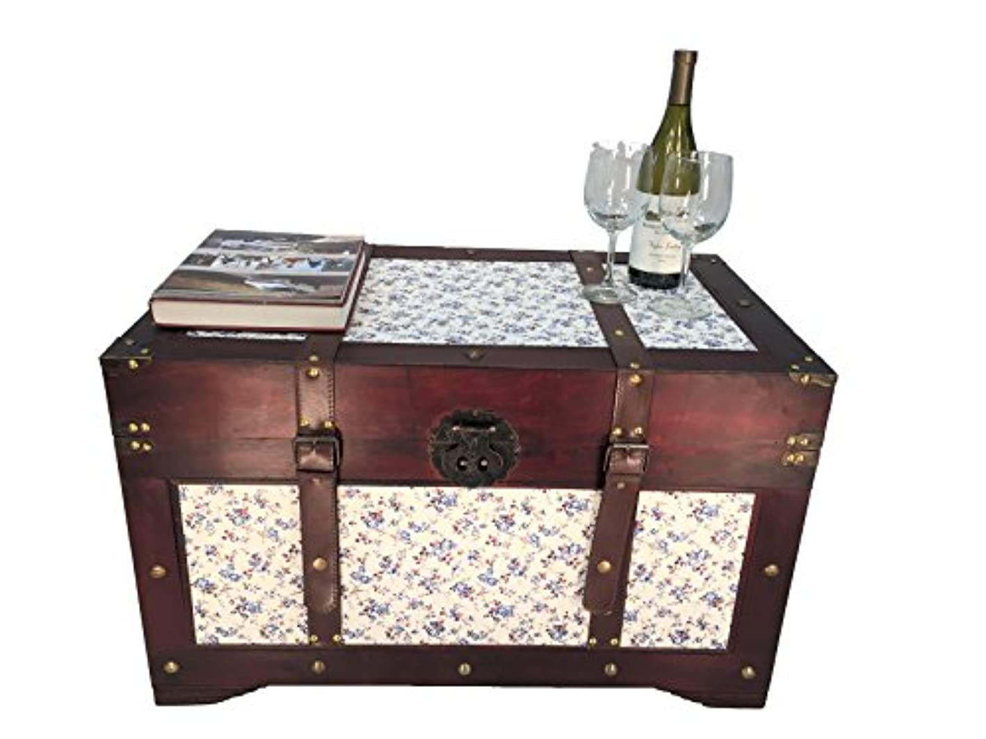 Styled Shopping Savannah Large Wood Storage Trunk Wooden Treasure Chest Blue