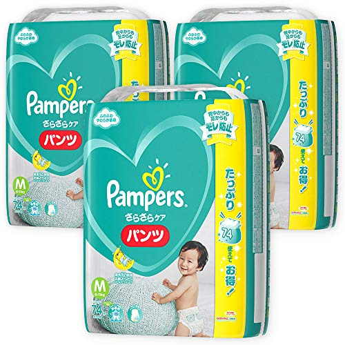[Case sale] Pampers Pants M (6 to 11 kg) 222 pieces (74 pieces x 3) smooth pants