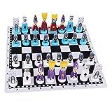 LQH Ajedrez Damas y Backgammon 1 Set Viaje Juego de ajedrez con el Tablero de ajedrez Juguetes educativos Internacional de Ajedrez Pieza de ajedrez for niños y Adultos for Juegos de ajedrez