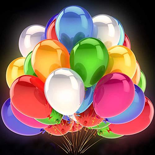 ZQBB 50 Stücke LED Leuchtende Luftballons Blinkendes Licht für Hochzeit Party/Geburtstag/Festival/Weihnachten Dekoration mit Bunte Ballons