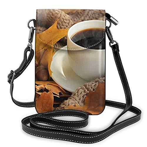 Goxegag Multifunktionale Leder Telefon Geldbörse, Leichte Kleine Schulter Umhängetasche Reisetasche Mit Verstellbarem Gurt Für Frauen- Warme Kaffeetasse Herbst